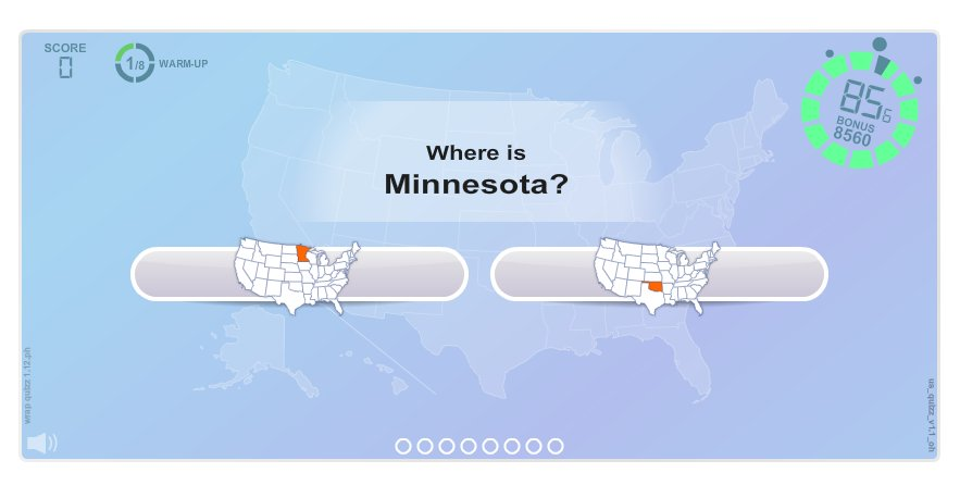 Questions about US States . Geography map games
