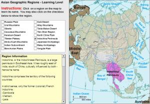 Geographic regions of Asia. Tutorial. Sheppard Software