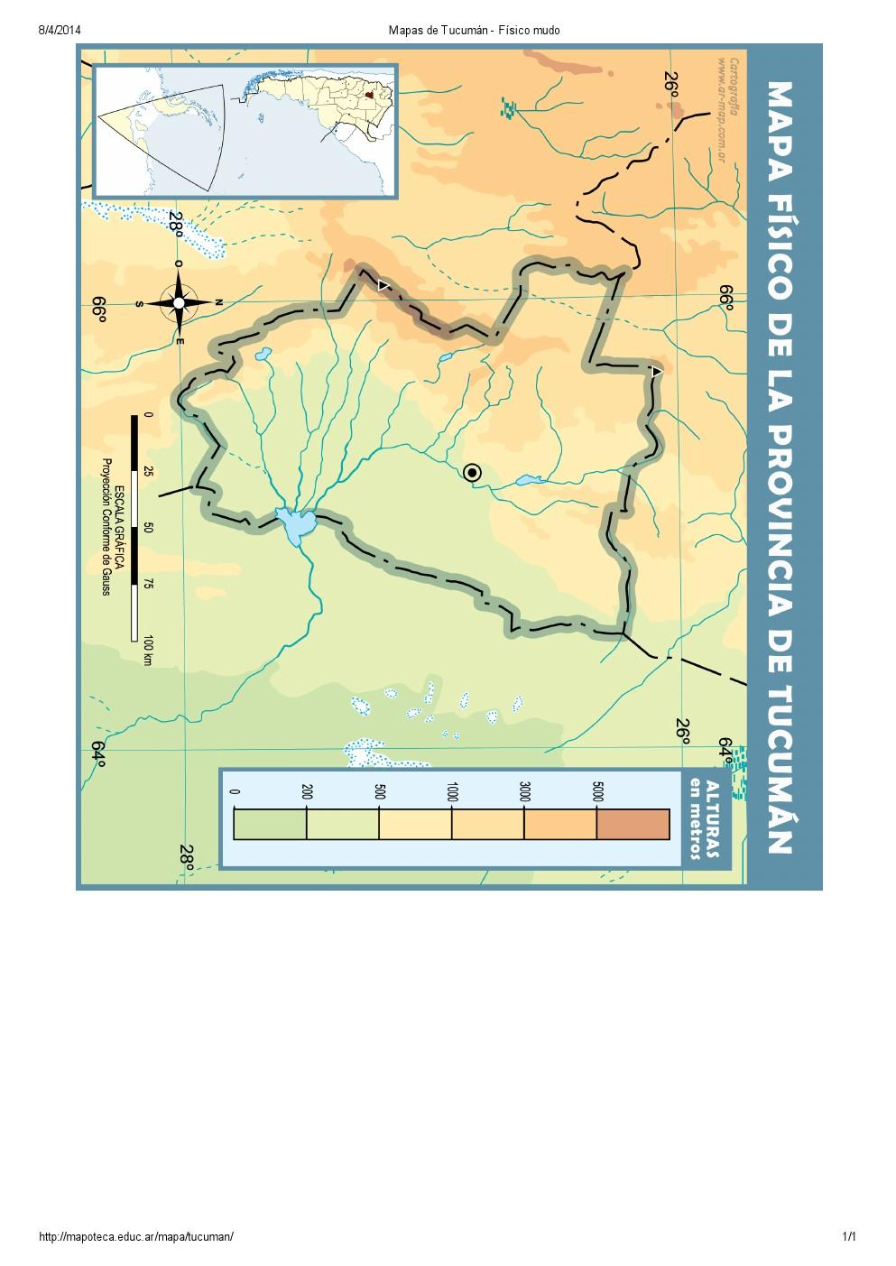 Mapa mudo de ríos de Tucumán. Mapoteca de Educ.ar