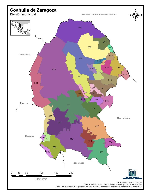 Mapa en color de los municipios de Coahuila de Zaragoza. INEGI de México