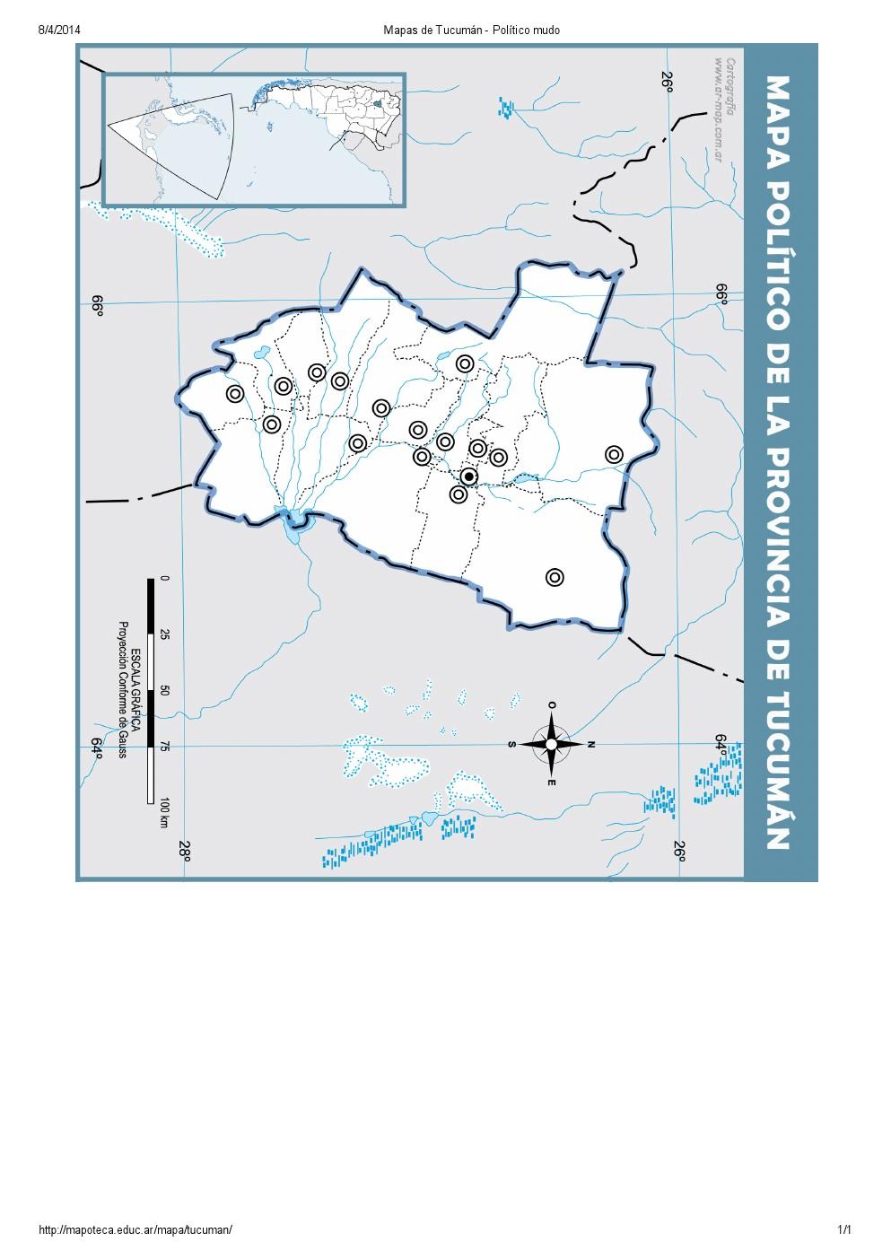 Mapa mudo de capitales de Tucumán. Mapoteca de Educ.ar