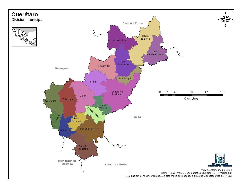 Mapa en color de los municipios de Querétaro. INEGI de México