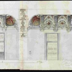 Secciones transversal y longitudinal de una sala capitular