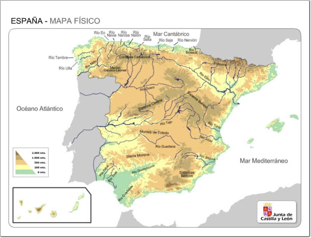 Arsducere Primaria Mapa Fisico De Espana