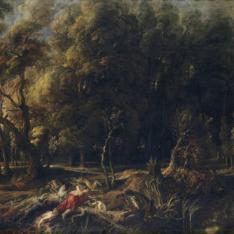 Atalanta y Meleagro cazando el jabalí de Calidón