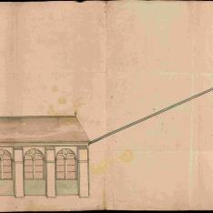 Plan fait a la main d´une Pompe. par un Roue tournant par le moyin du Canal d'une Riviere