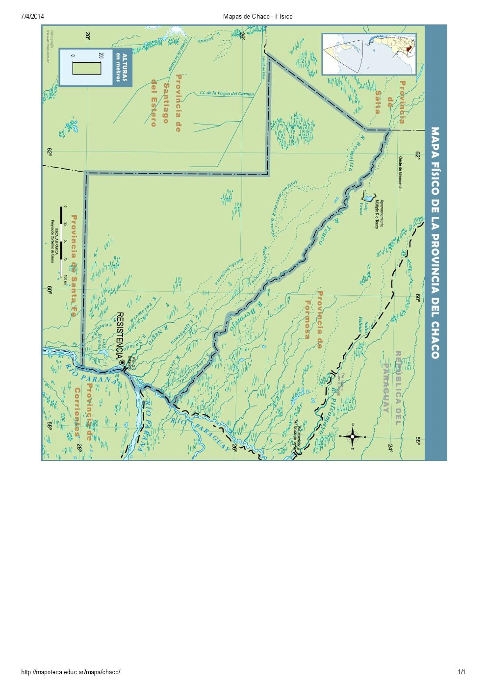Mapa de ríos del Chaco. Mapoteca de Educ.ar