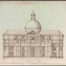 Alzado de la fachada de una iglesia