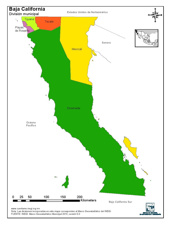 Mapa en color de los municipios de Baja California. INEGI de México