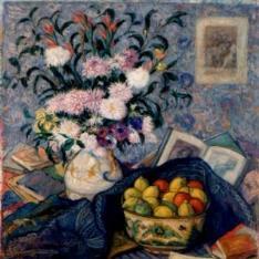Florero con plátanos, limones y libros