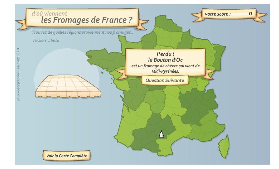 Fromages de France. Jeux géographiques