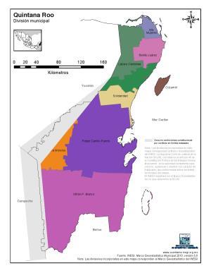 Mapa en color de los municipios de Quintana Roo. INEGI de México
