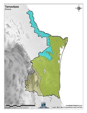 Mapa mudo de montañas de Tamaulipas. INEGI de México