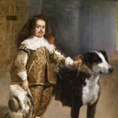 Retrato de bufón con perro