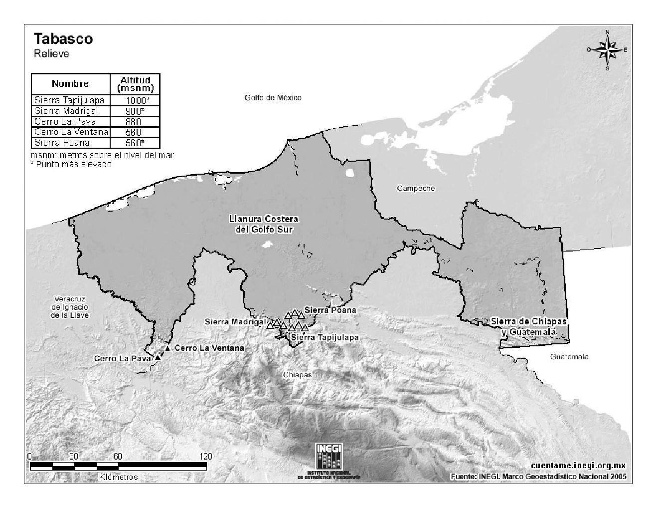 Mapa de montañas de Tabasco. INEGI de México