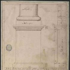Pedestal y basa del orden toscano