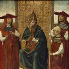 El cardenal don Pedro de Mendoza orando ante San Pedro