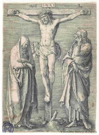 La Crucifixión con la Virgen y San Juan