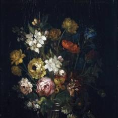 Florero con rosas y flor de almendro