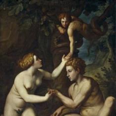 Adán recibiendo de Eva el Fruto Prohibido