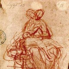 Esbozo de una figura de la Virgen con el Niño dormido