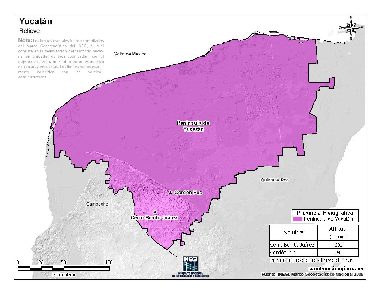 Mapa en color de montañas de Yucatán. INEGI de México