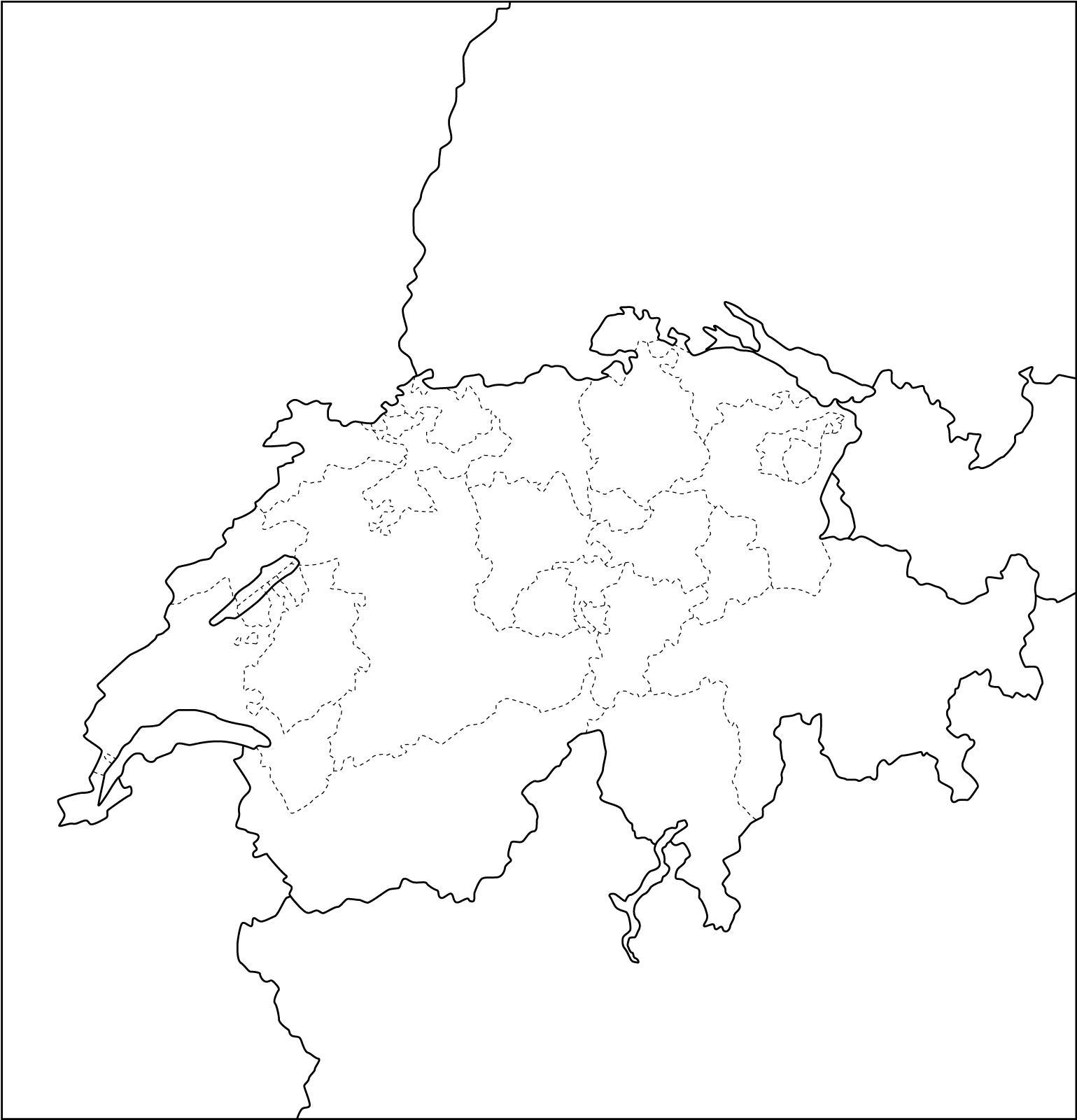 Mapa de cantones de Suiza. Freemap