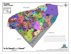 Mapa en color de los municipios de Yucatán. INEGI de México