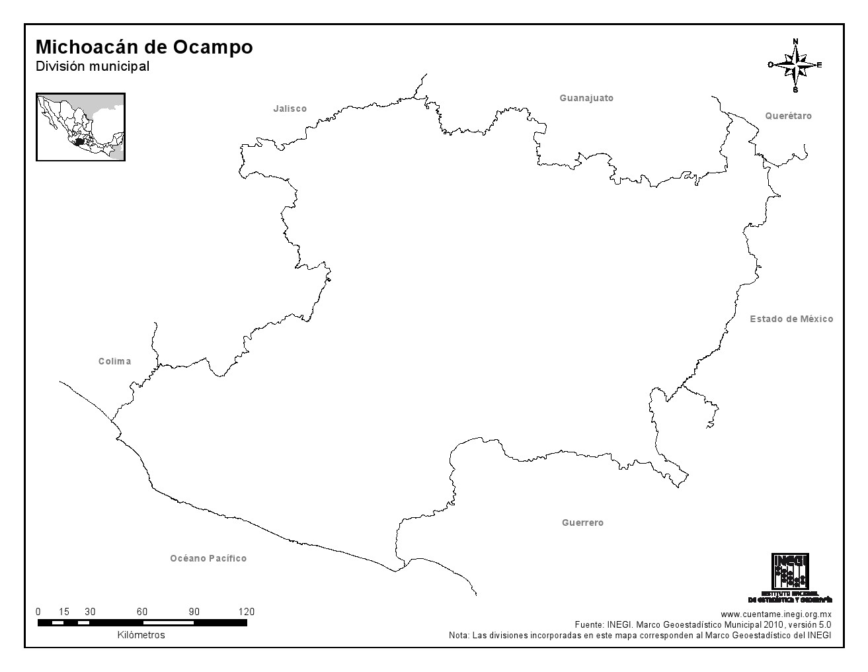 Mapa mudo de Michoacán de Ocampo. INEGI de México