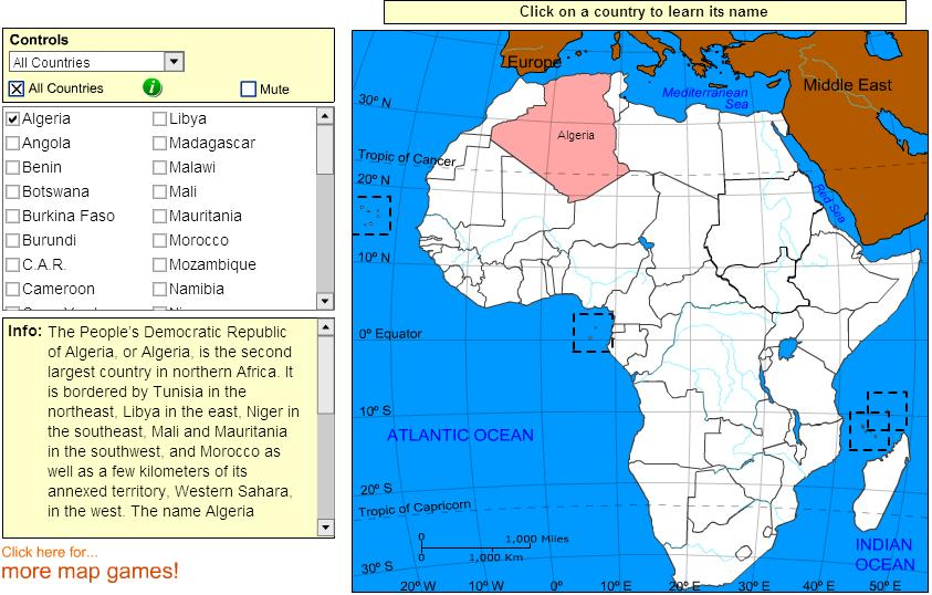 Countries of Africa. Tutorial. Sheppard Software