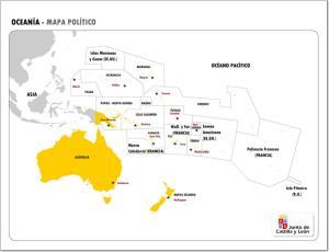 Mapa de países y capitales de Oceanía. JCyL