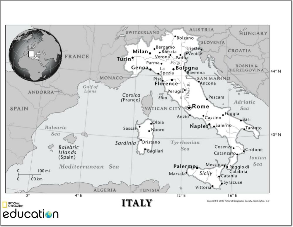 Mapa de ciudades y ríos de Italia. National Geographic