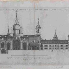 Quinto Diseño, Sección longitudinal del templo, palacio y convento