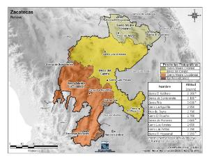 Mapa en color de montañas de Zacatecas. INEGI de México