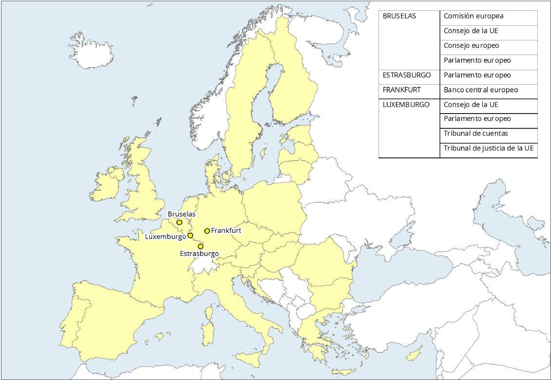 Mapa de Europa: Sedes de las Instituciones Europeas. Learn Europe