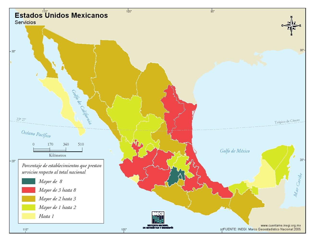 Mapa de servicios de México. INEGI de México