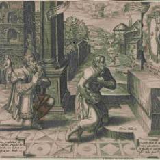 El rico y el pobre ante un crucifijo