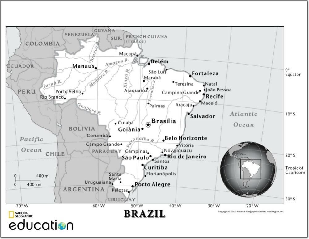 Mapa de ciudades y ríos de Brasil. National Geographic