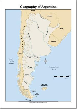 Mapa de ríos y montañas de Argentina. WorksheetWorks