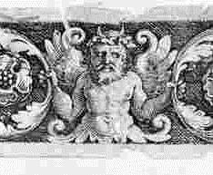 Ornamento con tres figuras fantásticas