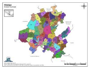 Mapa en color de los municipios de Hidalgo. INEGI de México