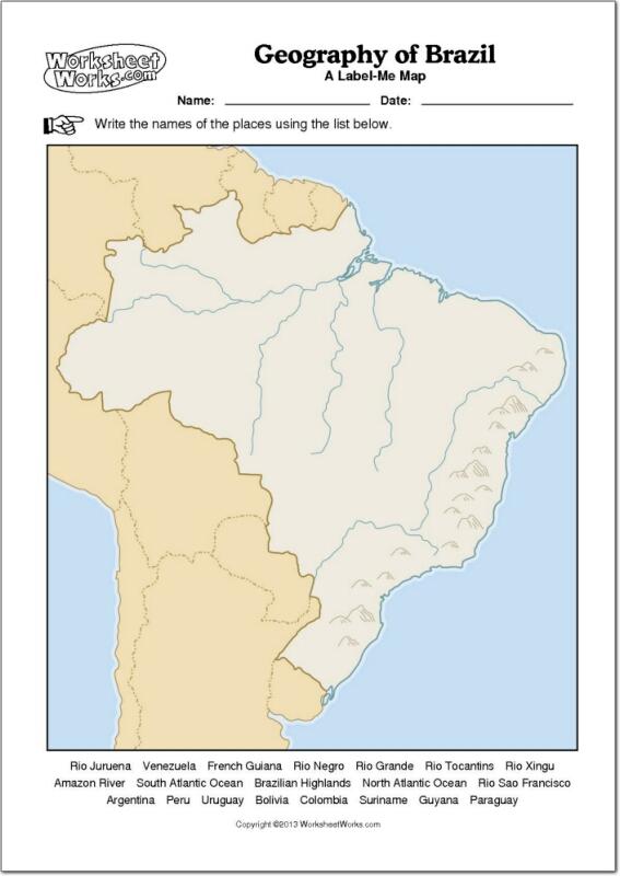 Mapa mudo de ríos y montañas de Brasil. WorksheetWorks