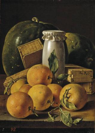 Bodegón con naranjas, sandías, melero y cajas de dulces