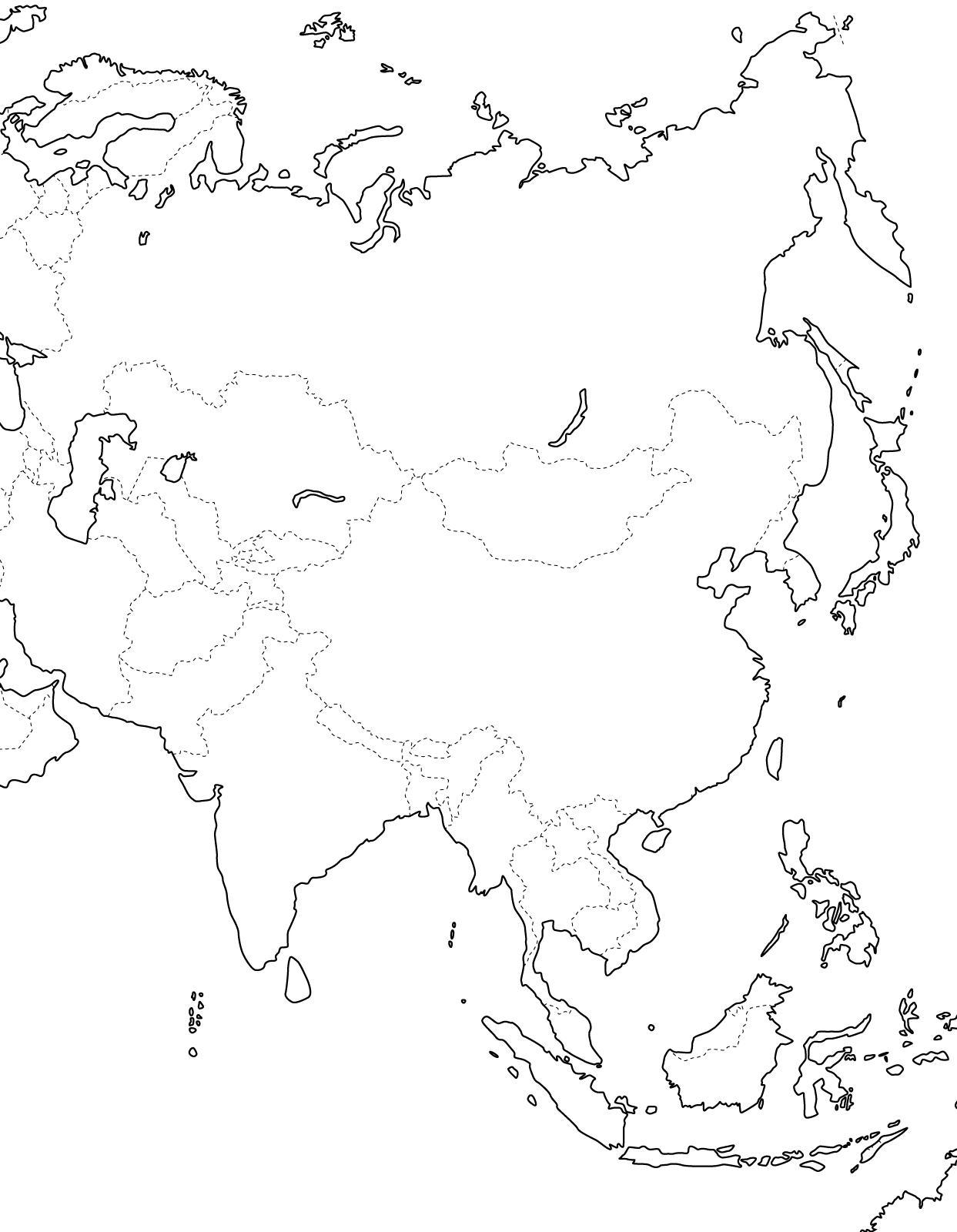 Mapa De Asia Mudo.Mapa Politico Mudo De Asia Para Imprimir Mapa De Paises De
