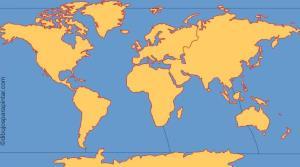 Continentes y océanos del mundo. Dibujos para pintar