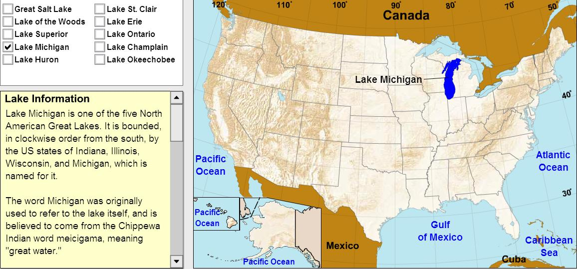 Lakes of United States. Tutorial. Sheppard Software