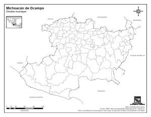 Mapa mudo de municipios de Michoacán de Ocampo. INEGI de México