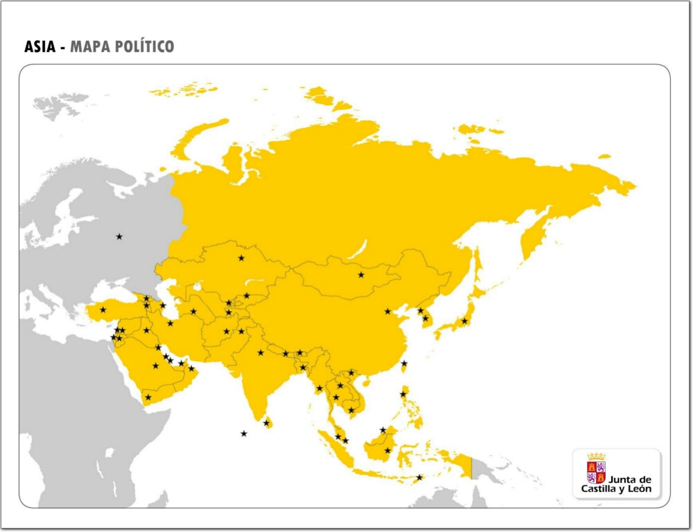 Mapa De Asia Mudo.Mapa Politico Mudo De Asia Mapa De Paises Y Capitales De
