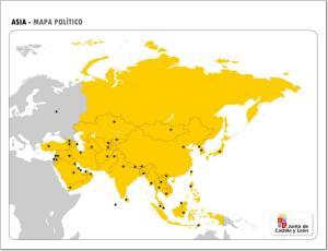 Mapa de países y capitales de Asia. JCyL