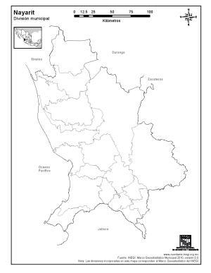 Mapa mudo de municipios de Nayarit. INEGI de México
